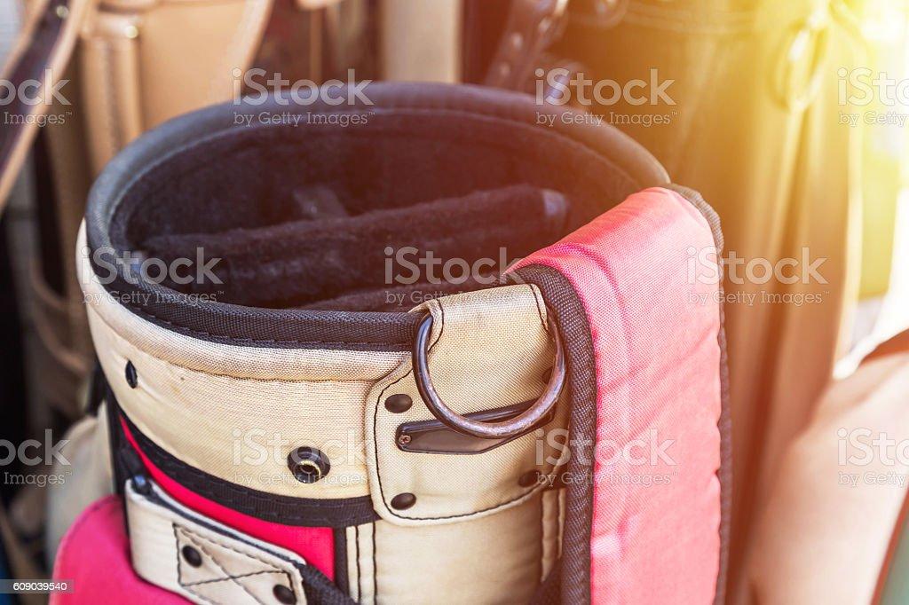 leather golf bag stock photo