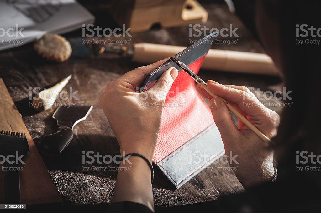 Leather handbag craftsman stock photo