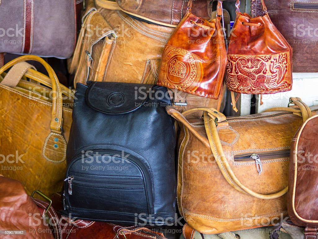 Leather handbags on the market in Kandy stock photo