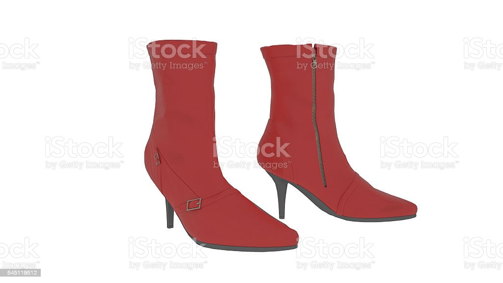Leather high heel boots, red shoes isolated on white background stock photo