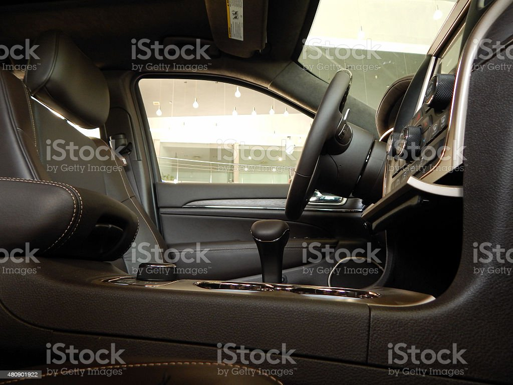 Leather interior of premium class car stock photo
