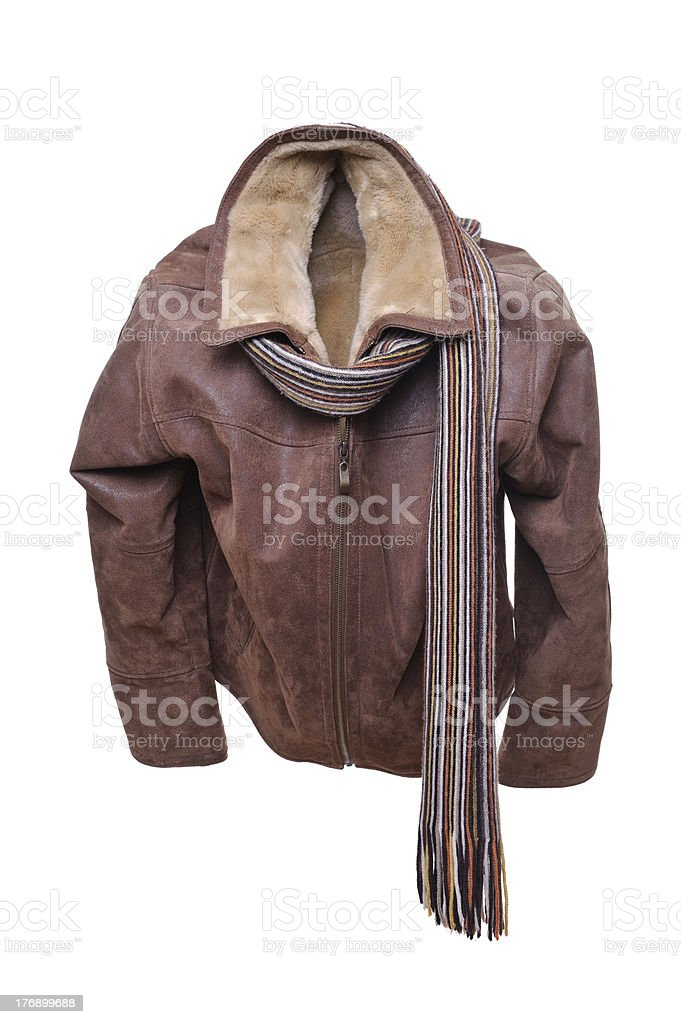 Leather Jacket and scarf royalty-free stock photo