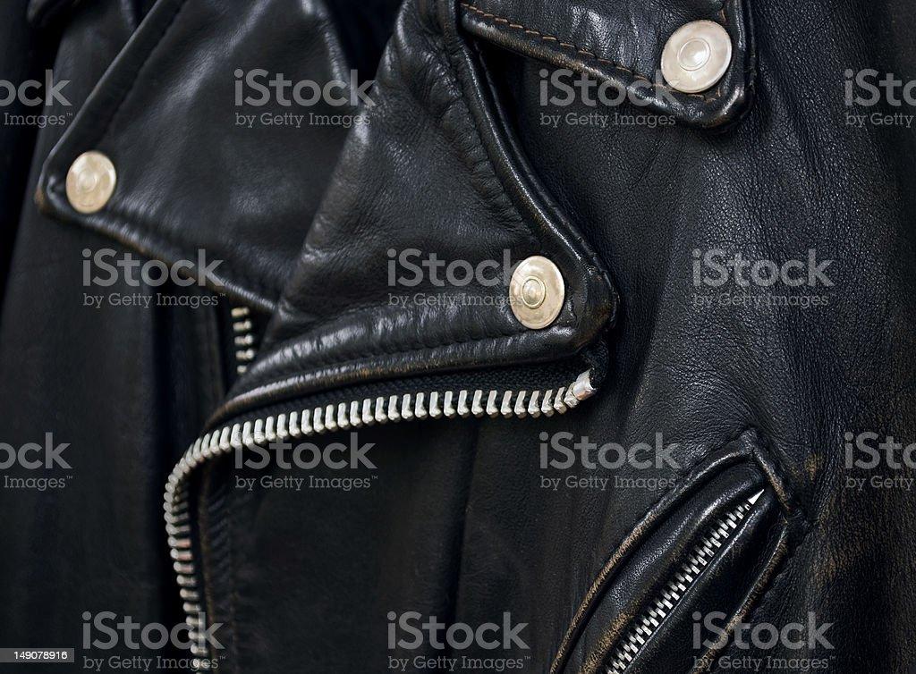 leather jacket detail stock photo