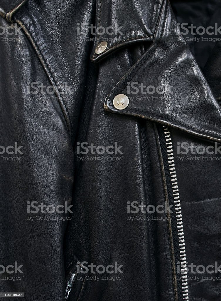 leather jacket detail2 stock photo