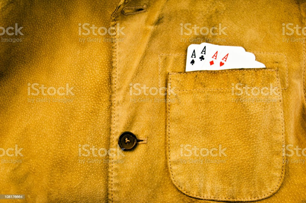 Leather Jacket with Aces in Pocket. Color Image stock photo
