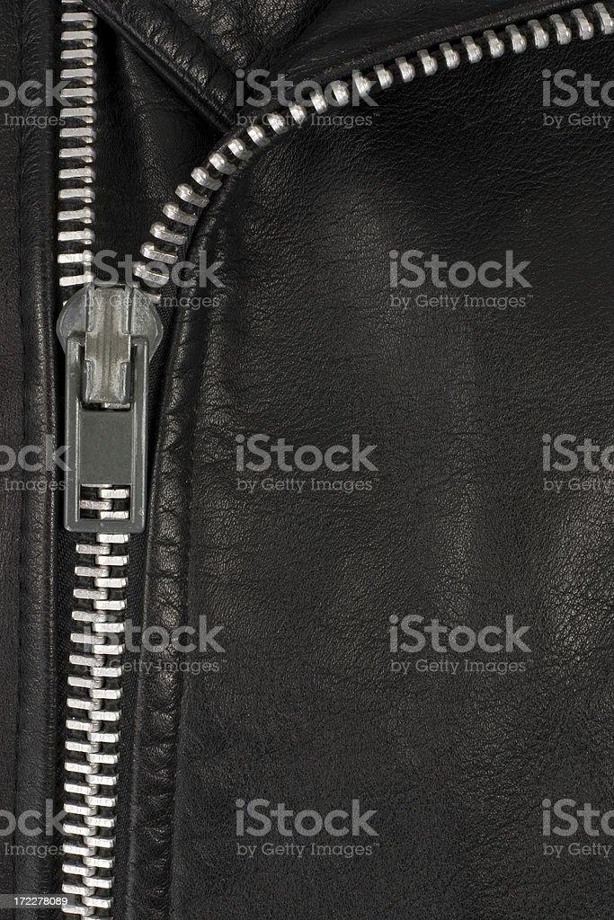 Leather Jacket Zipper Detail stock photo
