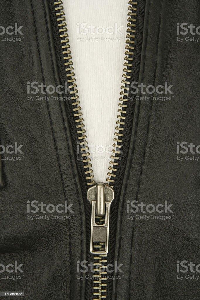 Leather jacket zipper royalty-free stock photo