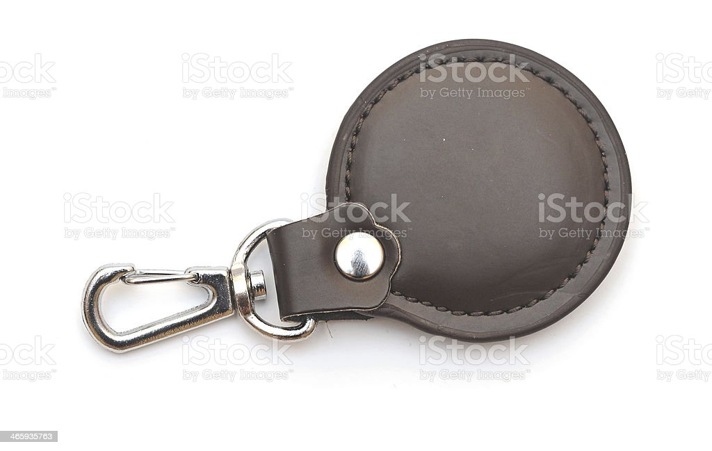 Leather key chain isolated on white background stock photo