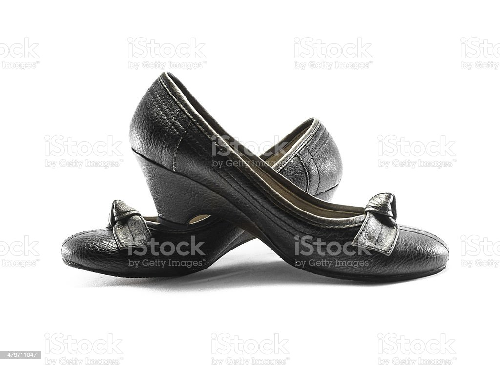 leather low heels shoes stock photo