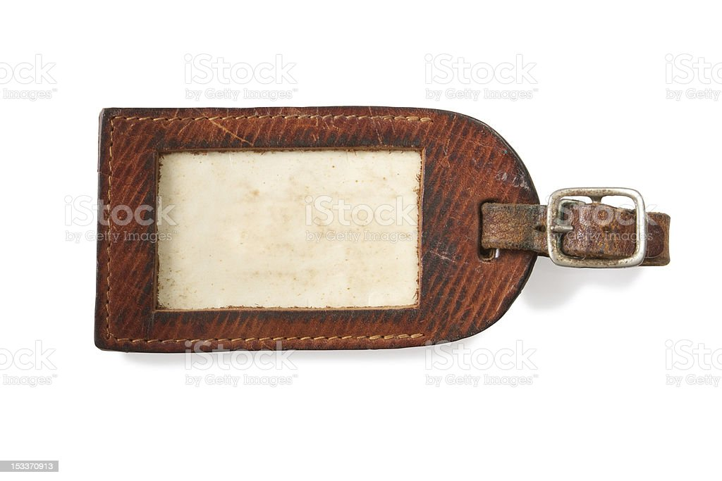 Leather luggage tag. Contains clipping path stock photo