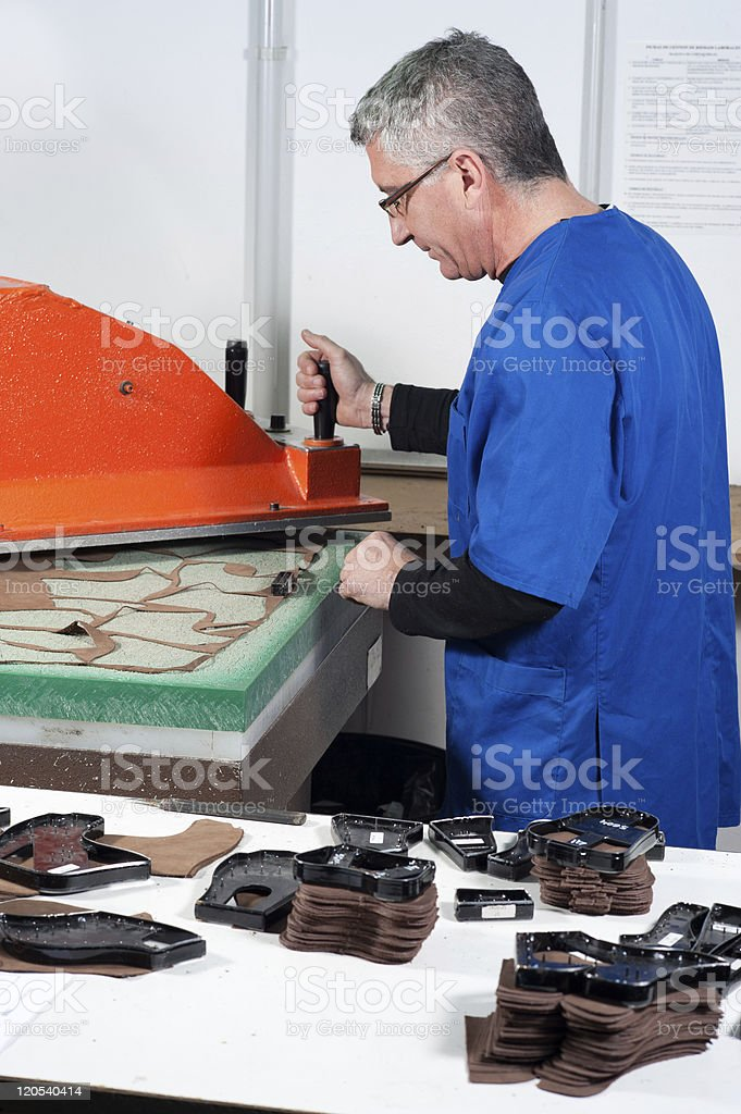 Leather manufacture stock photo