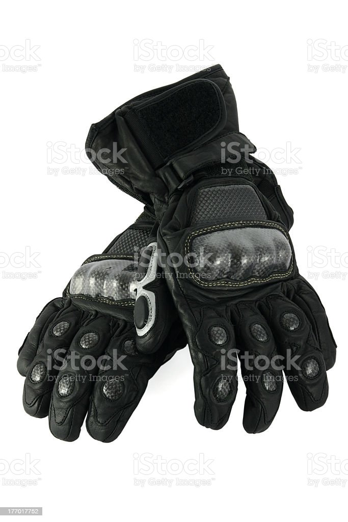 Leather motorcycle gloves stock photo