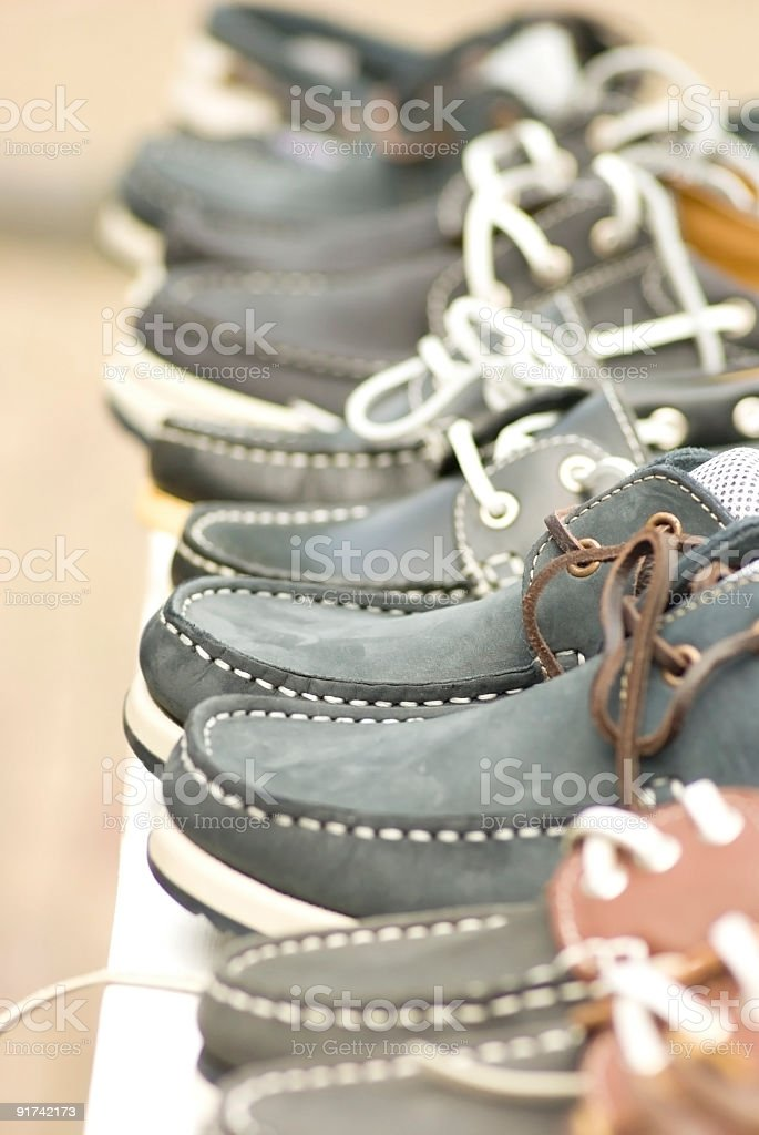 Leather navy blue sports shoes for sale royalty-free stock photo