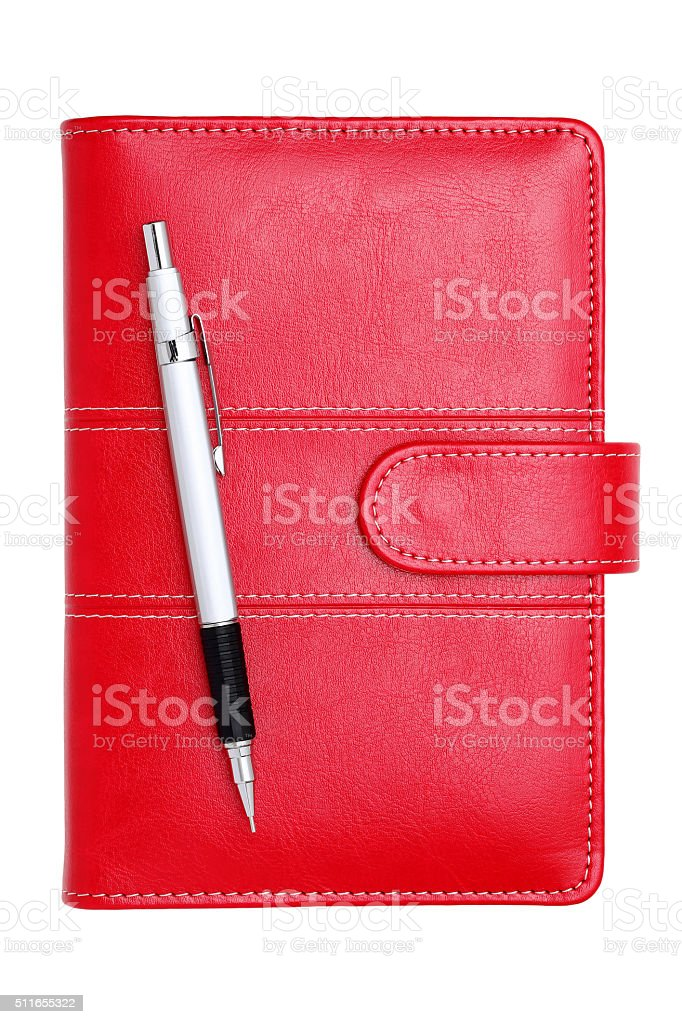 leather notebook and mechanical pencil stock photo