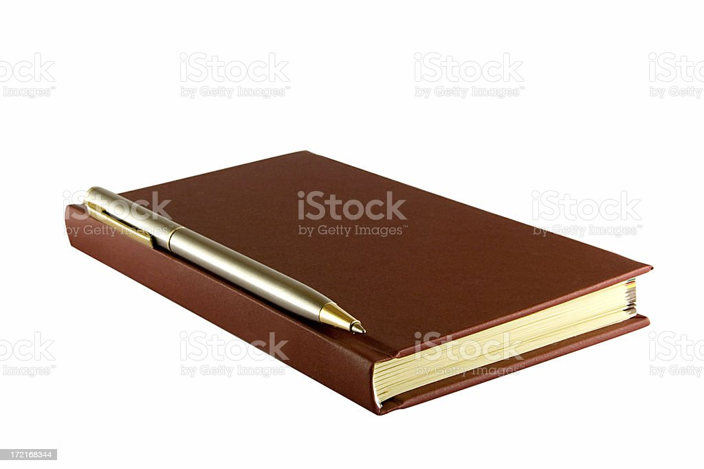 leather notebook with pen stock photo