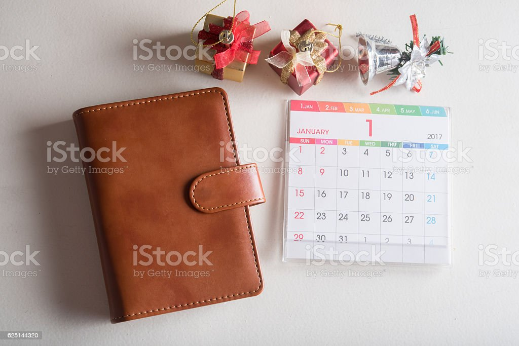 leather organizer book with calendar 2017 stock photo