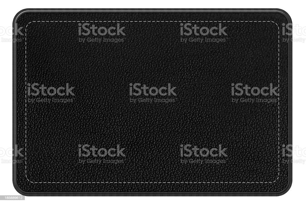 Leather patch, black rectangle, with border and stitching, clipping path stock photo