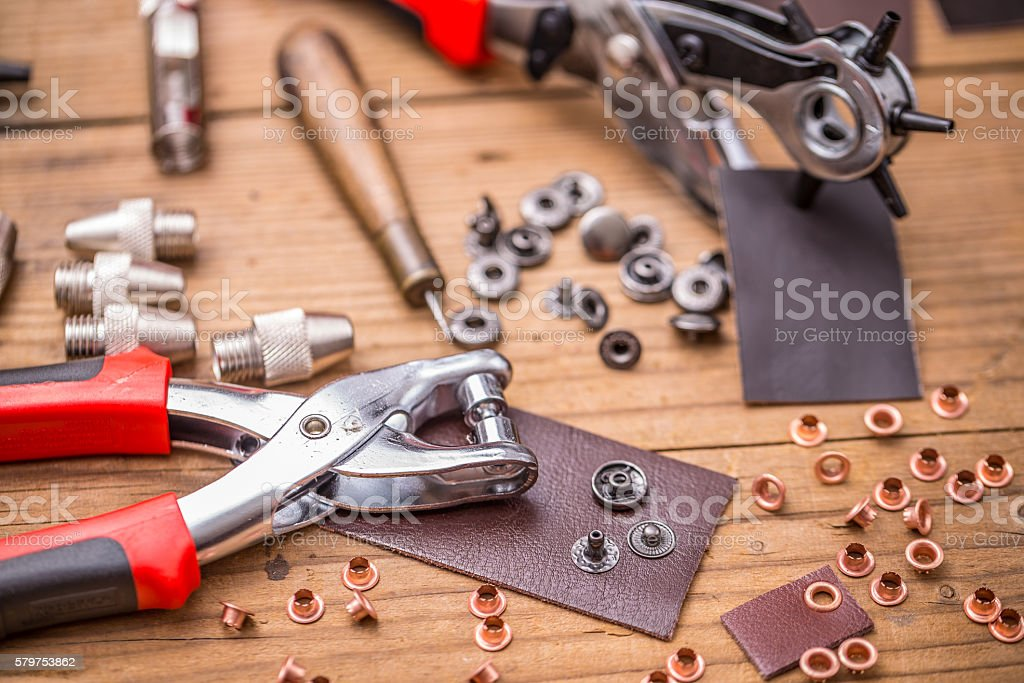 Leather punch tools stock photo