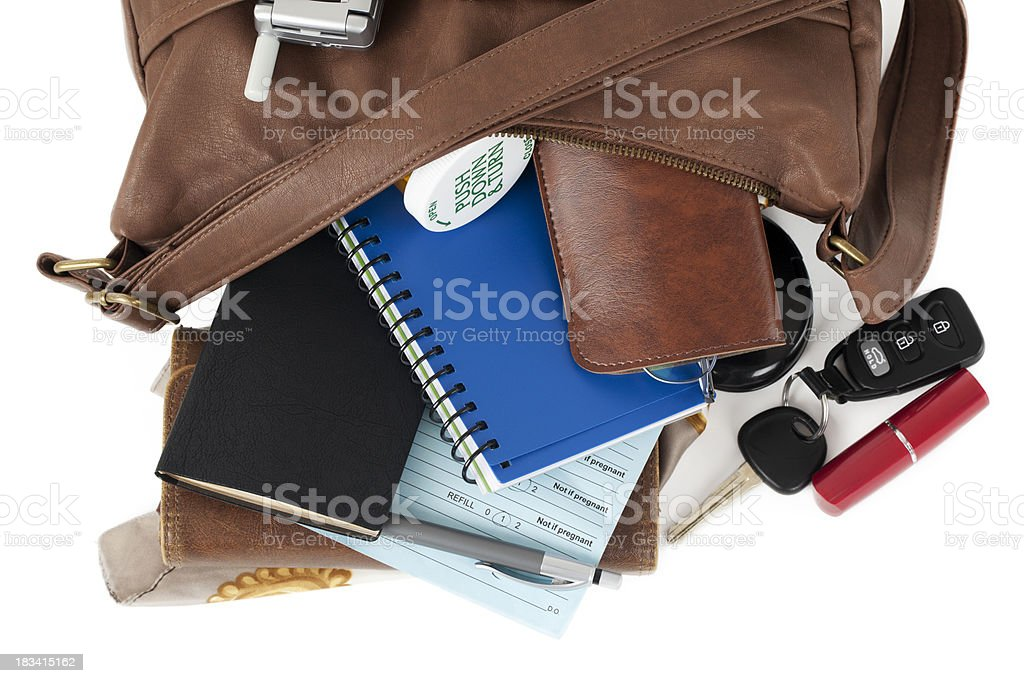 Leather Purse: Spilling Necessary Items stock photo