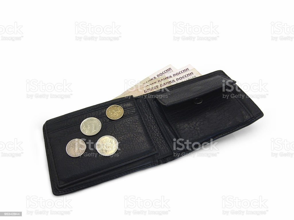 Leather purse with money royalty-free stock photo