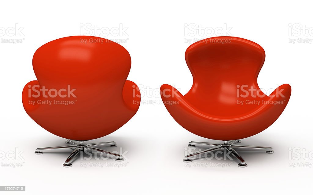 Leather red armchair (front and back view) stock photo