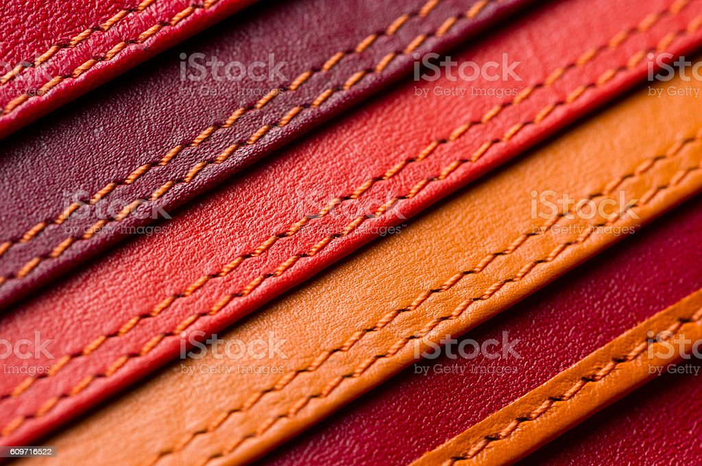 Leather samples with stitches stock photo