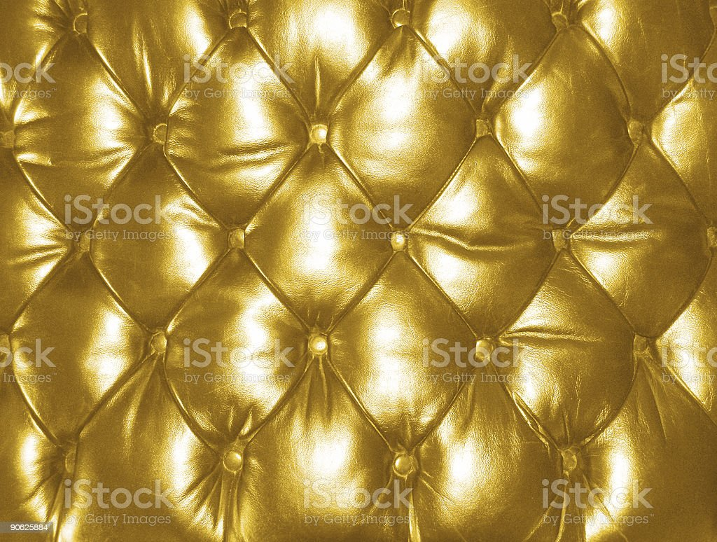 Leather Seat Cushion - Gold stock photo