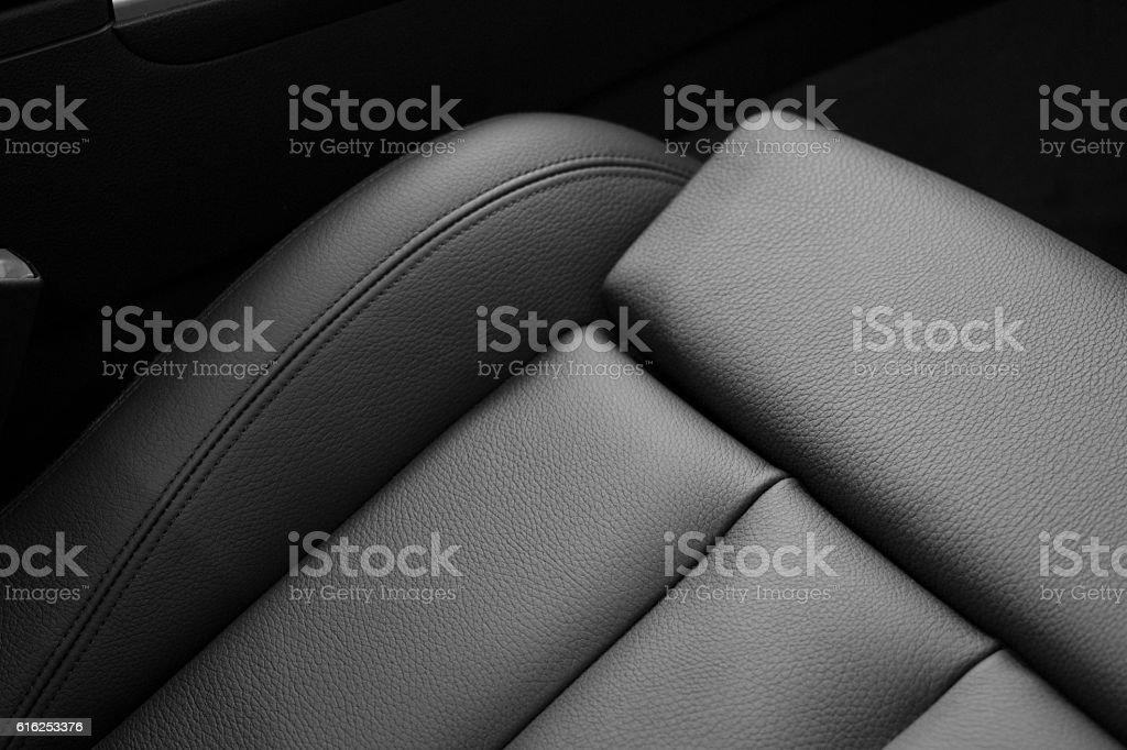 Leather seats in car stock photo