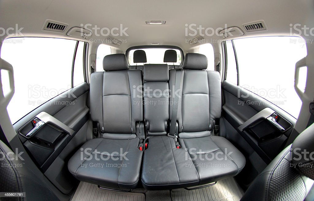 Leather seats in the rear of a car stock photo