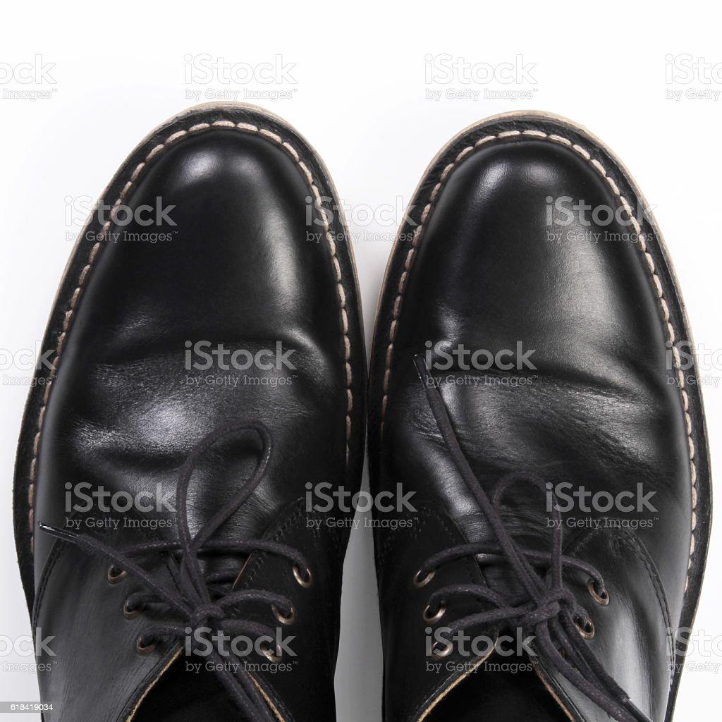 Leather shoes isolated on white background stock photo