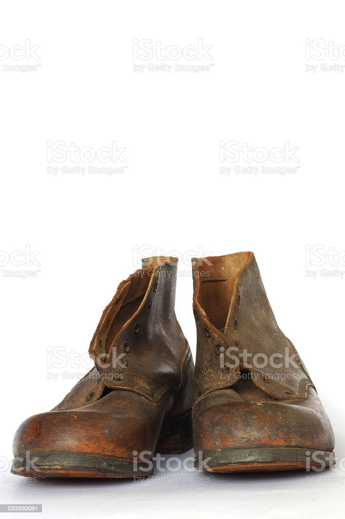 leather shoes old objects isolated stock photo