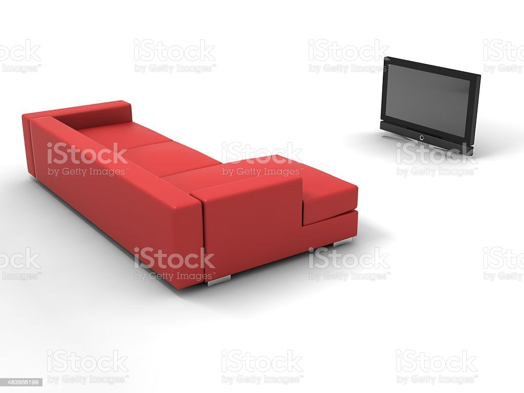 leather sofa and TV set stock photo