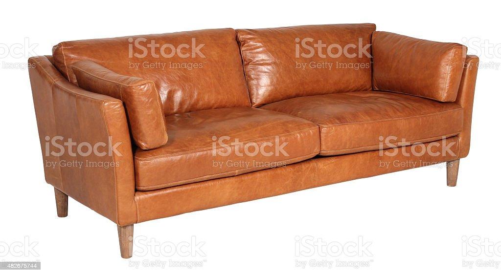 Leather Sofa Isolated On White Background stock photo