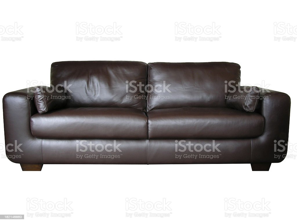 Leather sofa (isolated) stock photo