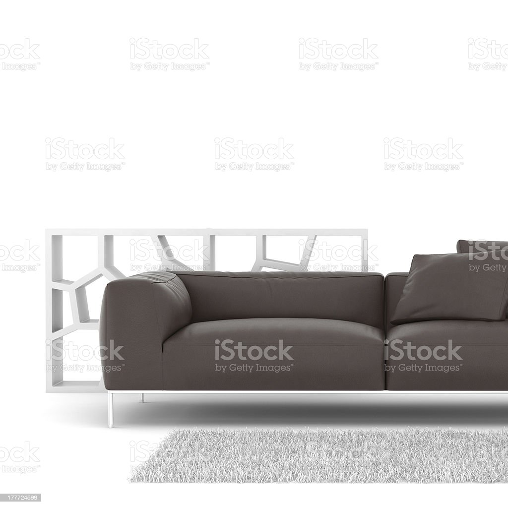 Leather sofa with a shelf isolated on white stock photo