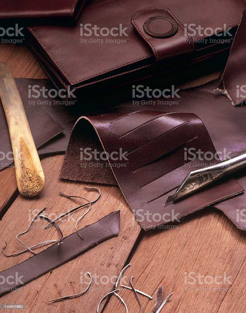 leather still life stock photo