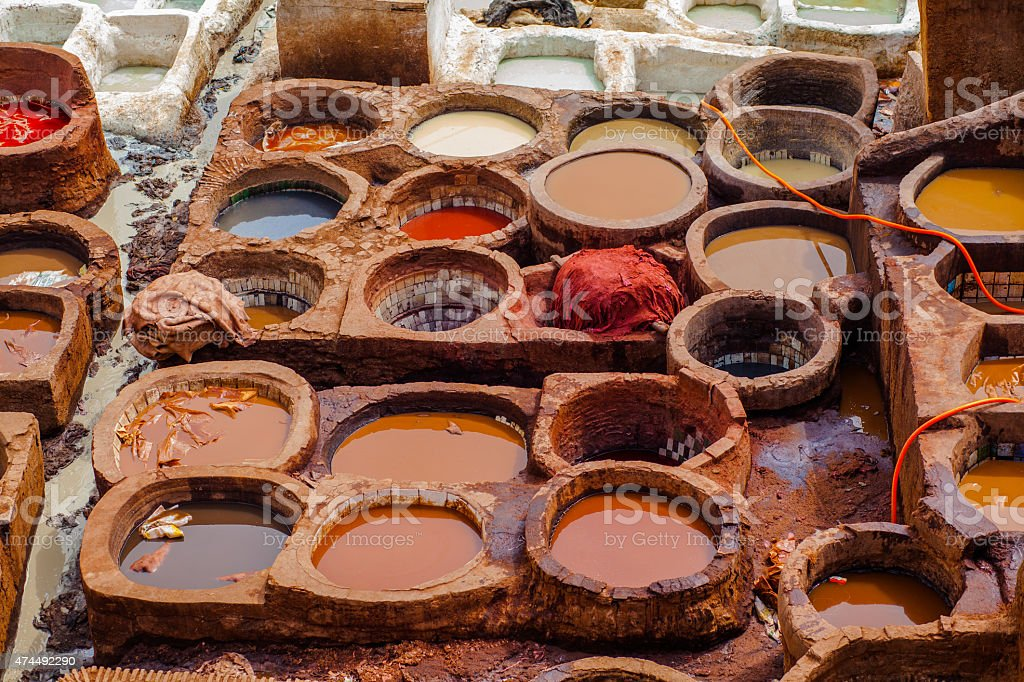 Leather tannery stock photo