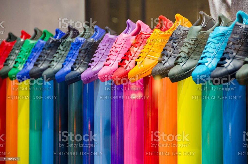 Leather Tennis Shoes of All Colors stock photo