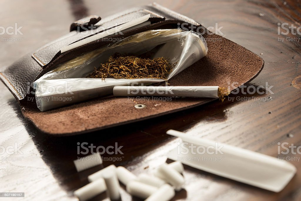 Leather Tobacco Pouch royalty-free stock photo