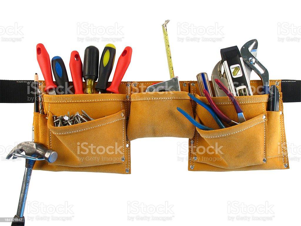 Leather Tool Belt Full of Tools Isolated on White Background stock photo