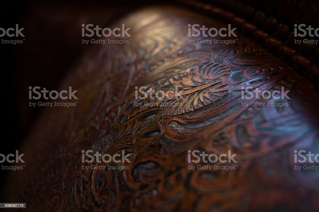 Leather Tooling Detail stock photo