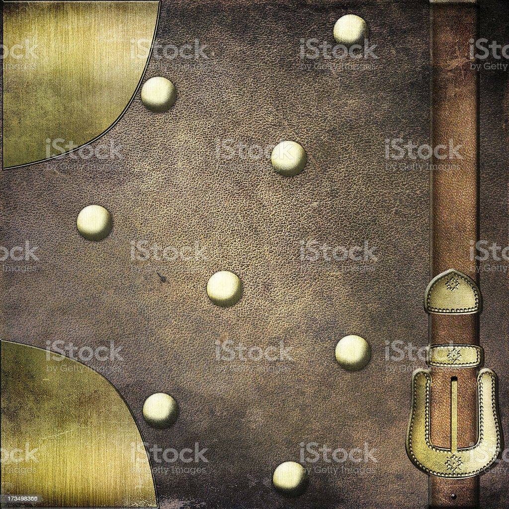 Leather vintage background with a buckle and frame royalty-free stock photo