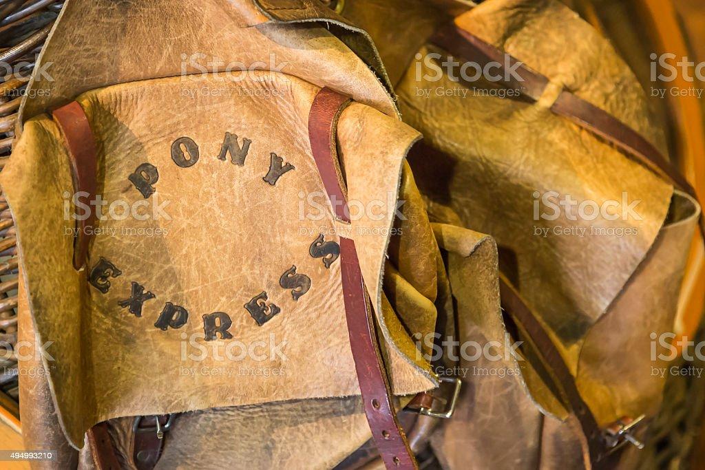 Leather Vintage Pony Express Saddle Bags stock photo