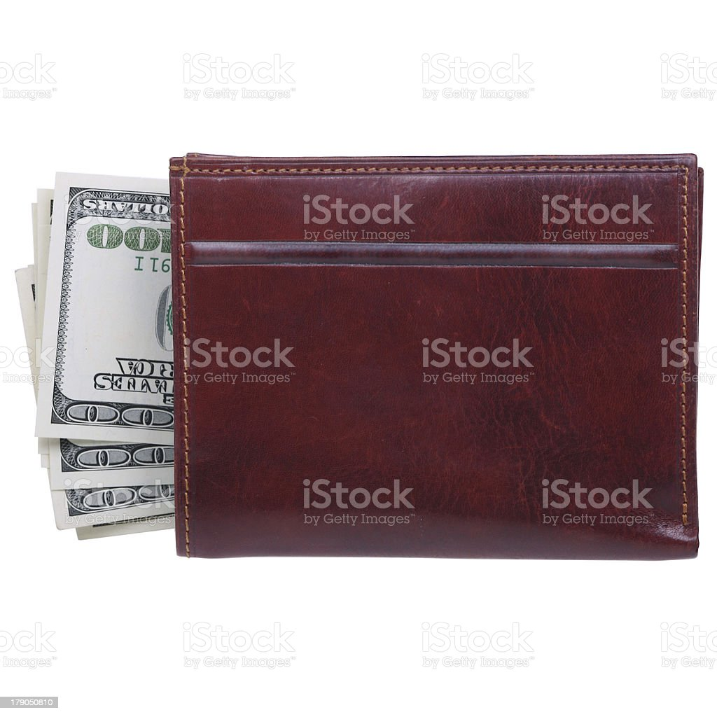 Leather Wallet on a White Background royalty-free stock photo