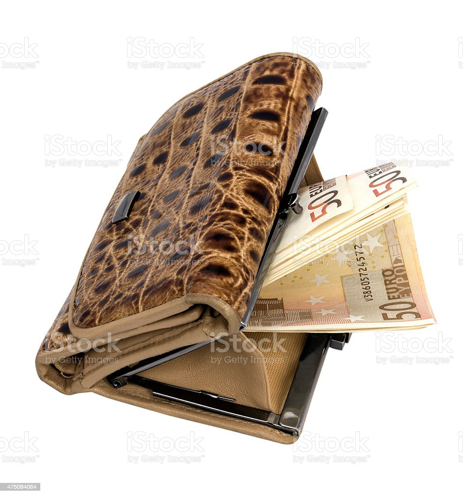 leather wallet with money stock photo
