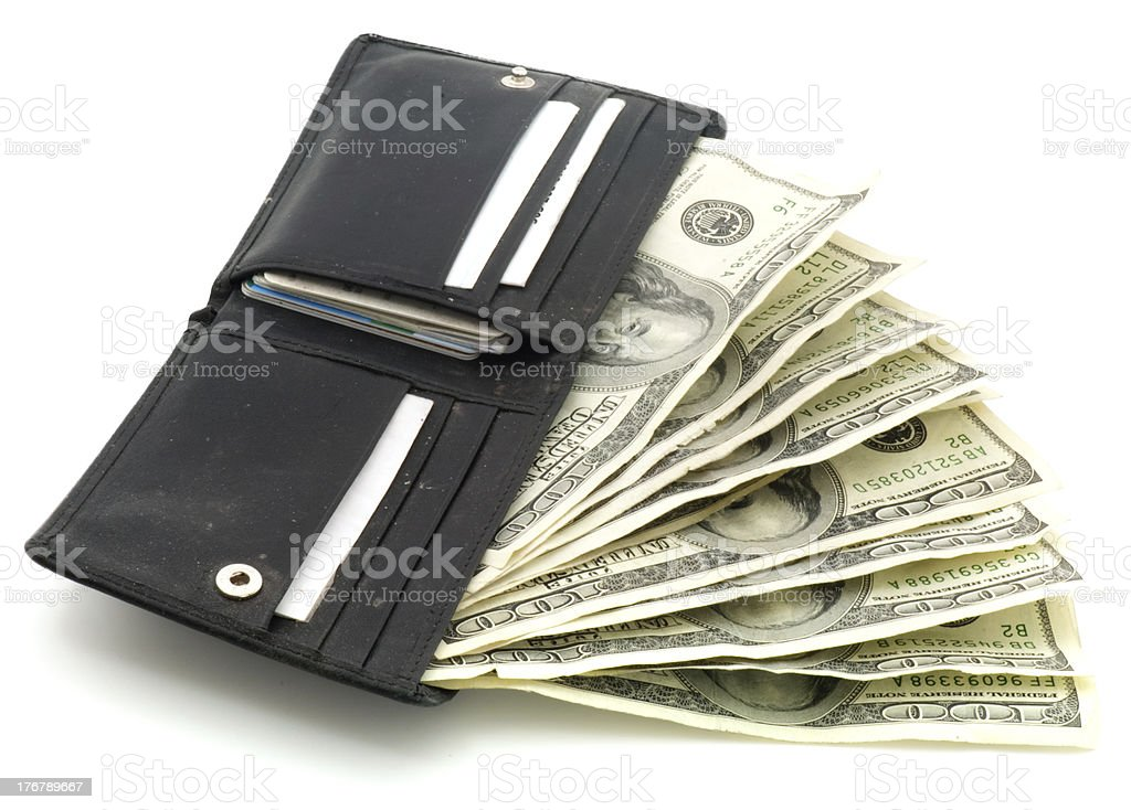Leather Wallet with nine $100 bills,  Isolated on White royalty-free stock photo