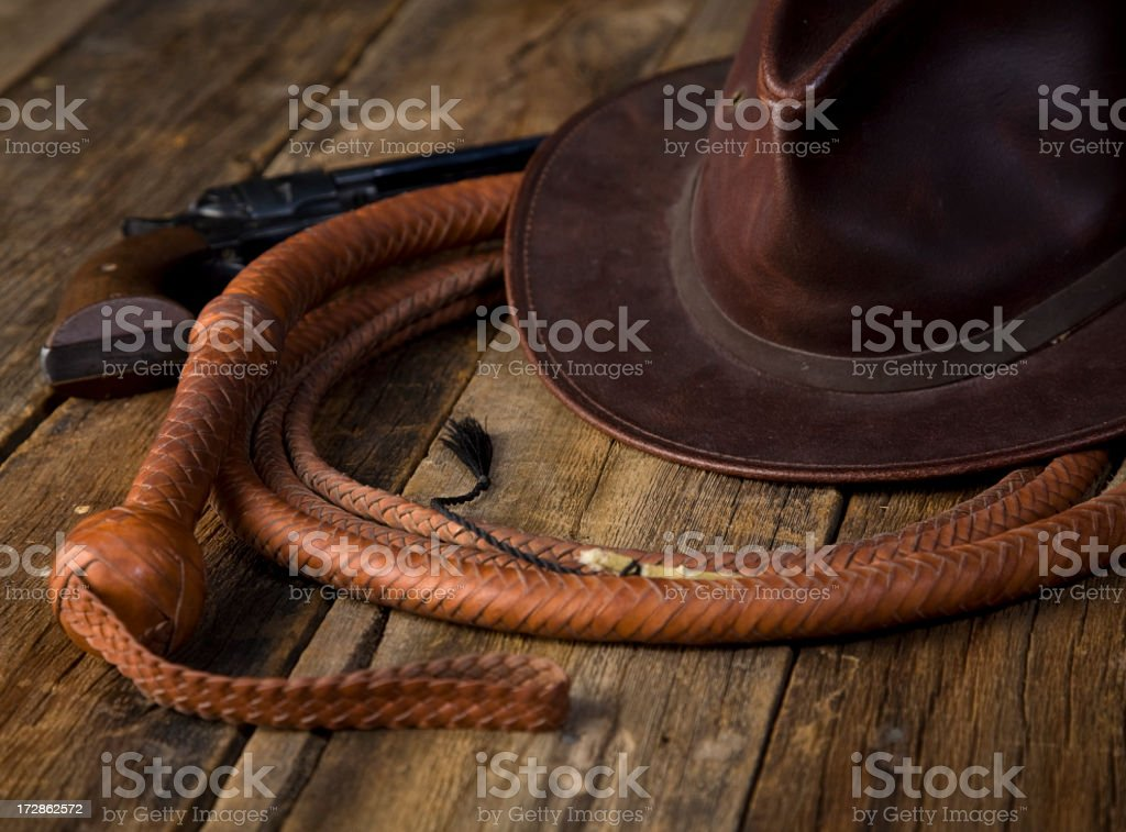 Leather Whip and Hat royalty-free stock photo