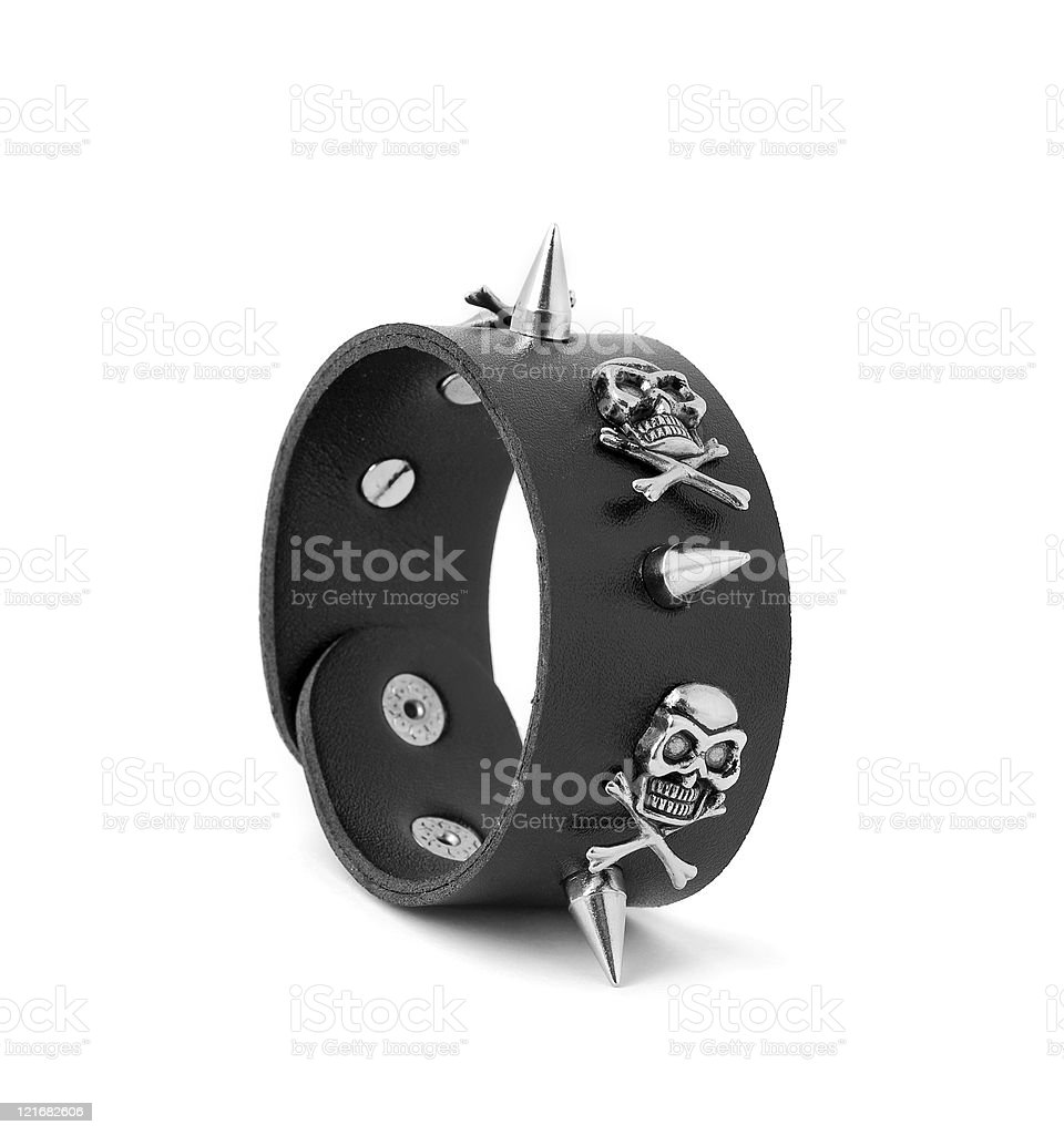 leather with spikes bracelet stock photo