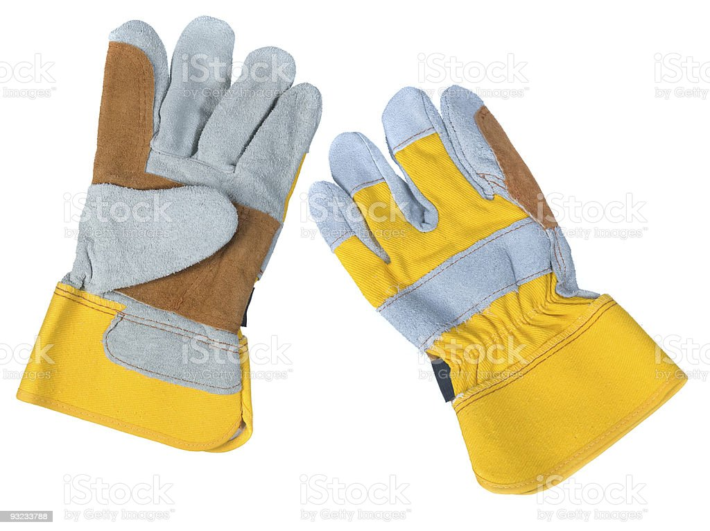 Leather work gloves stock photo