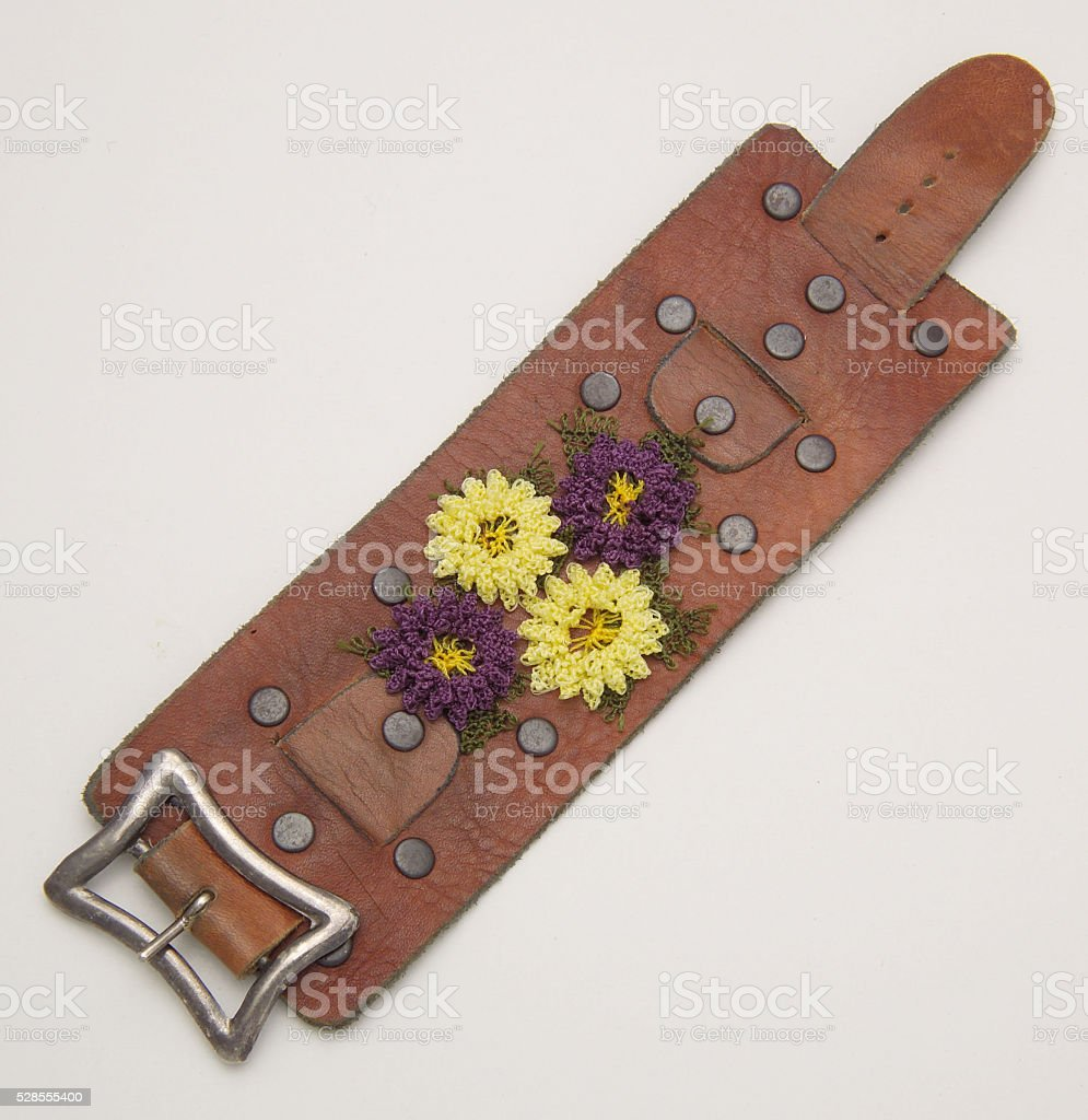 leather wristband stock photo